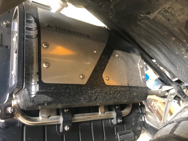 Touratech Tool Kit installation on MotoBags backplate